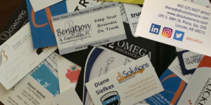 business cards, LinkedIn